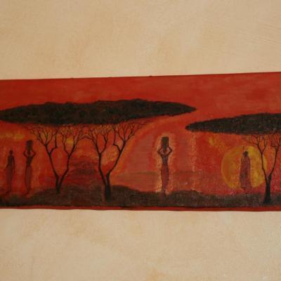 Tableau orange et noir, des femmes dans le désert.