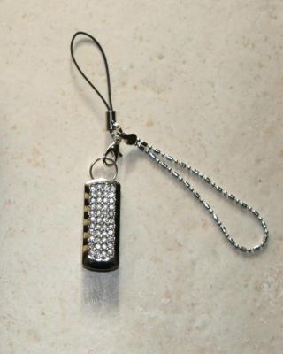 Clé usb-bijou métal et strass 4gb, bijou de portable, porte-clés.