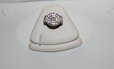 Bague élastique grise et ovale strass.