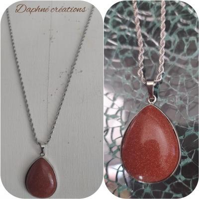 Sautoir acier et pendentif Cabochon brown sandstone