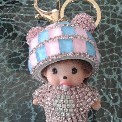 Porte-clé, bijou de sac kiki bonnet et strass