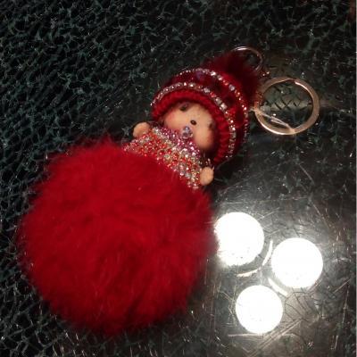 Porte-clé, bijou de sac kiki bonnet laine rouge  , pompon et strass