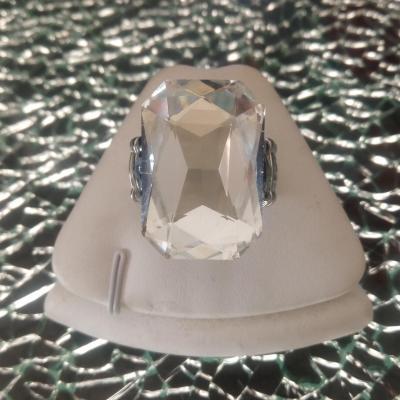 Bague élastique, métal et rectangle strass