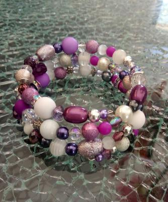 Bracelet multi-rangs violet-mauve, perles, métal, cristal de swarovski