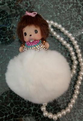 Porte-clé, bijou de sac kiki noeud ruban, et pompon, attache perles