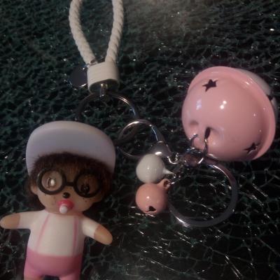 Porte-clé, bijou de sac kiki, casquette blanche et lunettes.