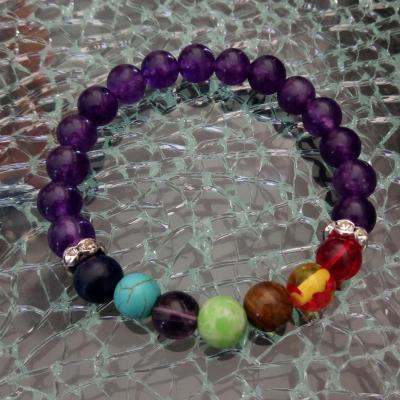 Bracelet violet, strass et perles 7 chakras