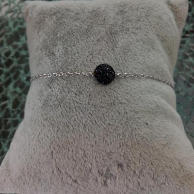 Bracelet argent 925, rond oxyde de zirconium noir.