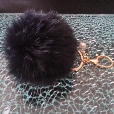 Porte-clé, bijou de sac pompon noir et perle