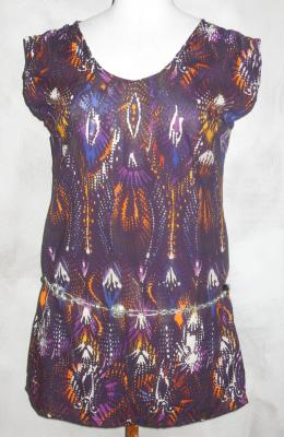 Robe-tunique  imprimée violet-orange.