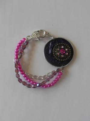 Bracelet capsule café violet et cabochon strass rose, chaines, cristal de swarovski.