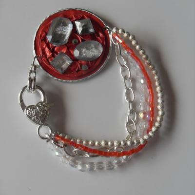 Bracelet capsule café orange et strass, chaines, cristal de swarovski.