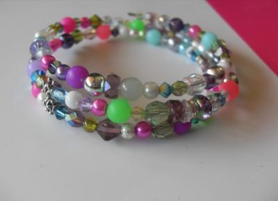 Bracelet multi-rangs multicolore, perles, métal, cristal de swarovski