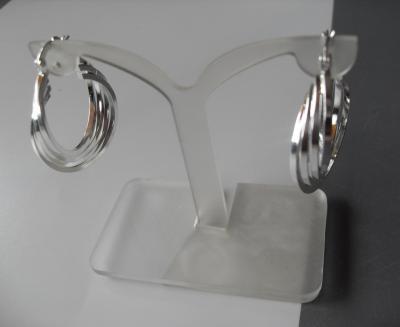 Boucles d'oreilles créoles entrelacées, argent.
