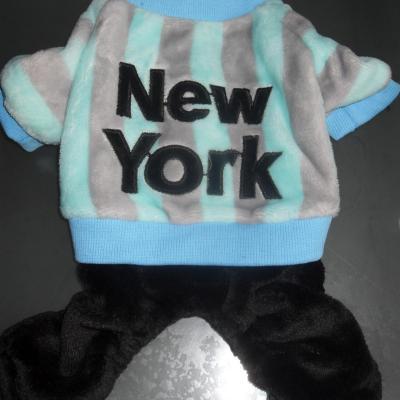 Vêtement chien, combinaison polaire bleu-gris-noir New-york.