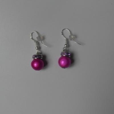 Boucles d'oreilles argent, perles magiques rose et strass.