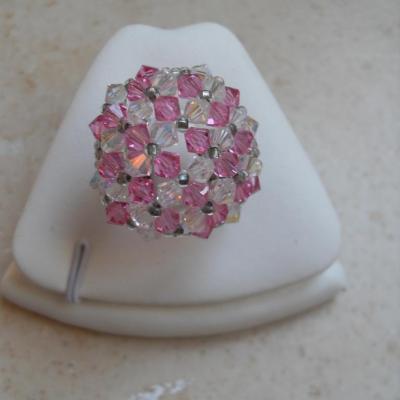 Bague cristal dôme swarovski rose et blanc.