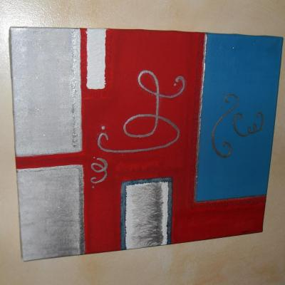 Tableau moderne rouge, turquoise, blanc et argent.