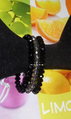 Bracelet 3 rangs de perles cristal de swarovski noir et gris.