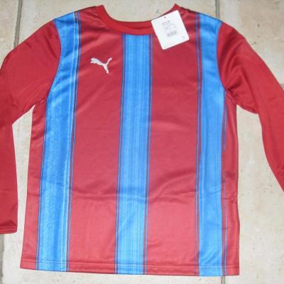 Tee-shirt  PUMA bordeaux et bleu, manches longues.