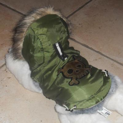 Vêtement chien chiot, manteau doudoune d'hiver, verte et tête de mort.