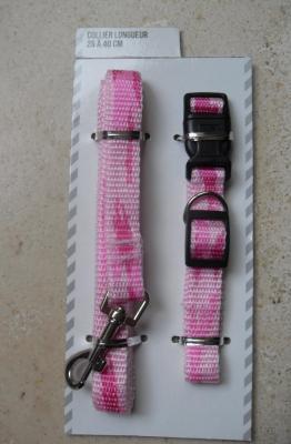 Collier + laisse en tissu rose, chien, chiot, chat.