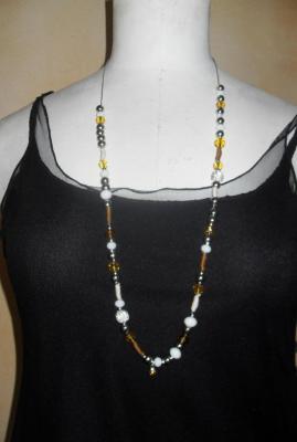 Sautoir long, orange, perles cristal de swarovski, strass.