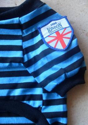Tee-shirt bleu rayé LONDON, vêtement chien.