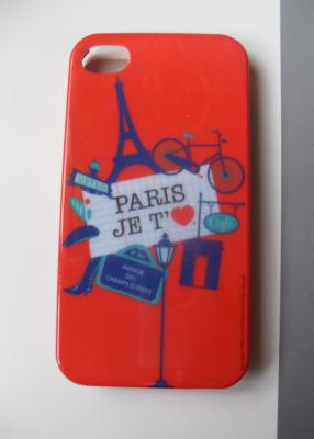"Coque IPHONE 4 et 4S silicone rouge ""Paris, je t'aime""."