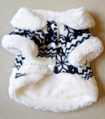 Vêtement chien, manteau hiver laine blanc et bleu.